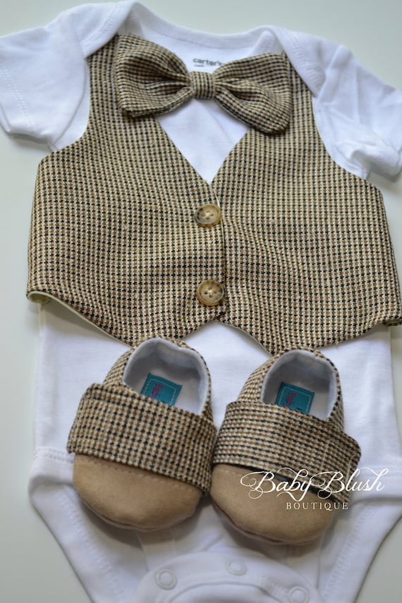 Brown Tan Vest Bow Tie Baby Boy Outfit Photo Prop Matching