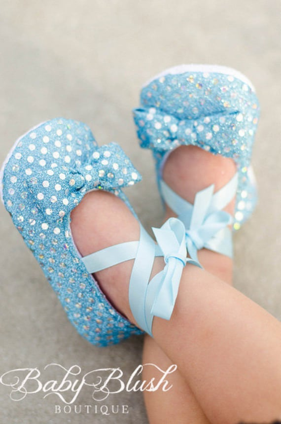 Light Blue Sequin Baby Shoes Baby