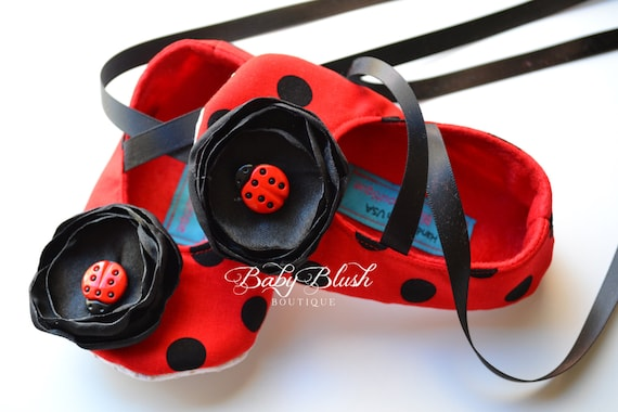 6c98fb1efe5 Ladybug Red with Black Polka Dots Baby Shoes Soft Ballerina