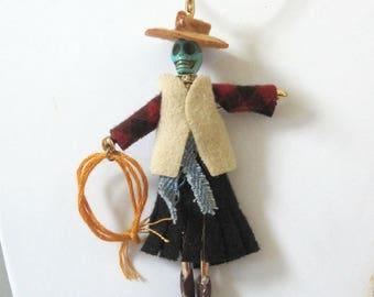 Day Of The Dead Necklace Sugar Skull Jewelry Dia De Los Muertos Cowboy