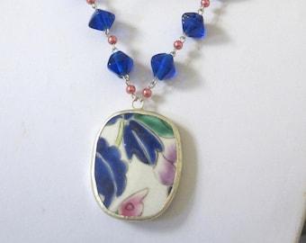 Blue Leaf Necklace Pottery Shard Jewelry Porcelain Pendant