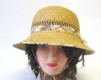 Natural Straw Hat Cloche Millinery Womens