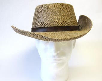 Western Hat Natural Straw Bush Style 7 1/8