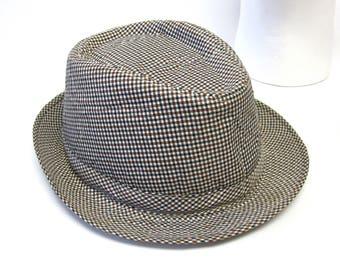 fc3121834cb Fedora Hat Brown Black White Plaid Mens Trilby Stingy Brim