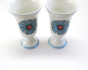 Pedestal Glasses Parfait Cup White Blue Flower Set Of Two