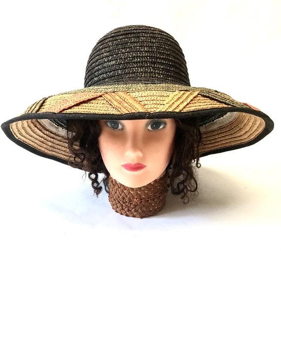 Wide Brimmed Striped Straw Hat Cloche Millinery W… - image 2