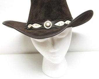 Cowboy Hat Chocolate Brown Suede Leather Winfield Cover Co