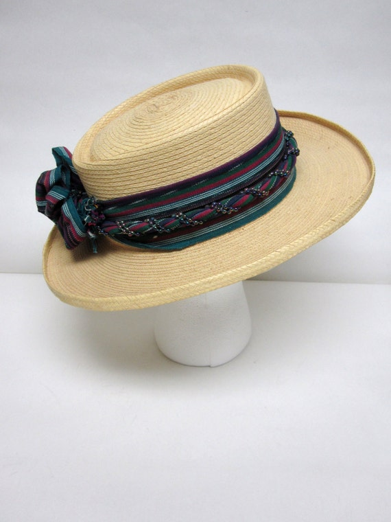 Wide Brimmed Straw Hat Natural Fiber