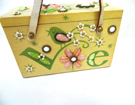 Enid Collins LOVE Wood Box Bag Collins of Texas Pu