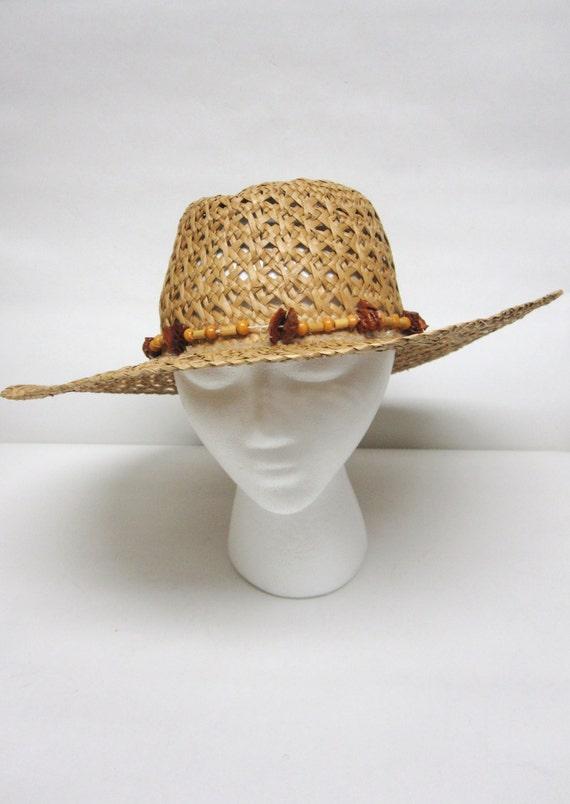 Wide Brimmed Hat Straw Natural Fiber Weave
