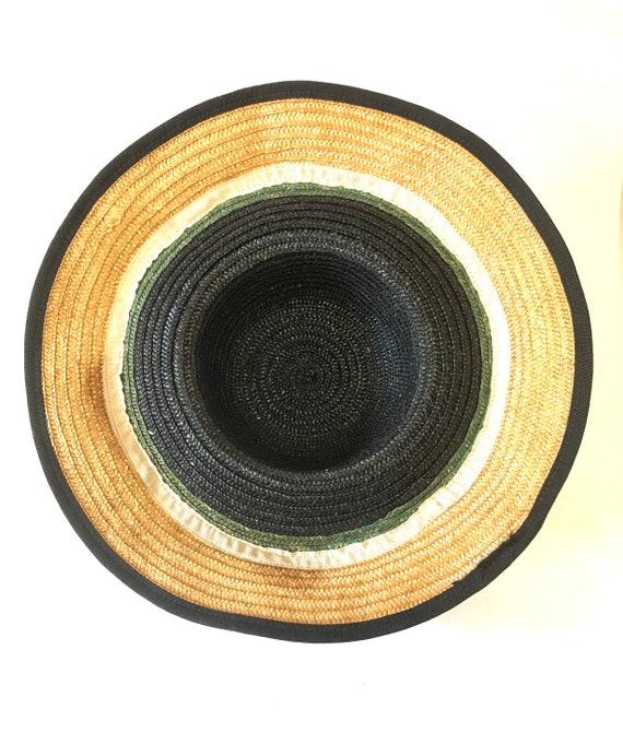 Wide Brimmed Striped Straw Hat Cloche Millinery W… - image 4