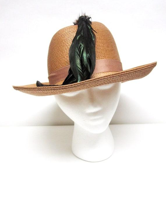 Womans Straw Hat Wide Brimmed Fedora Hat Sandra N… - image 1