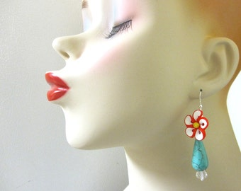 Turquoise Blue Teardrop Earrings With Red And White Flower