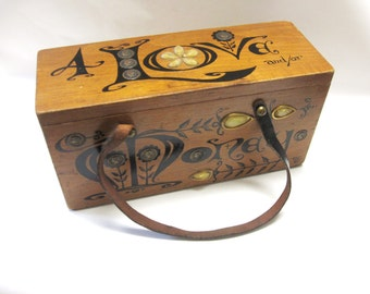 Enid Collins 4 Love and or Money Wood Box Bag Collins of Texas Purse Handbag
