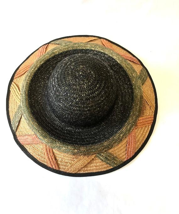 Wide Brimmed Striped Straw Hat Cloche Millinery W… - image 3