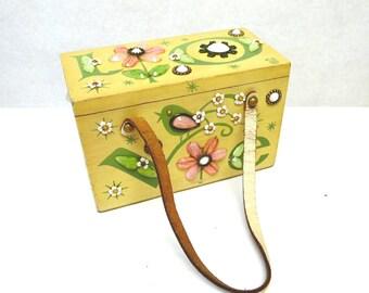 Enid Collins LOVE Wood Box Bag Collins of Texas Purse Handbag