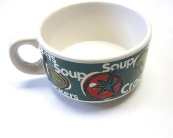 Soup Cup Oversize Bowl Large Mug Stoneware Green White Red Orange