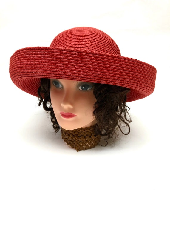 Red Wide Brimmed Hat Boater Straw Betmar Millinery