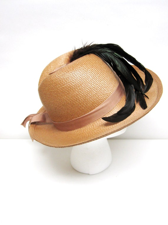 Womans Straw Hat Wide Brimmed Fedora Hat Sandra N… - image 2