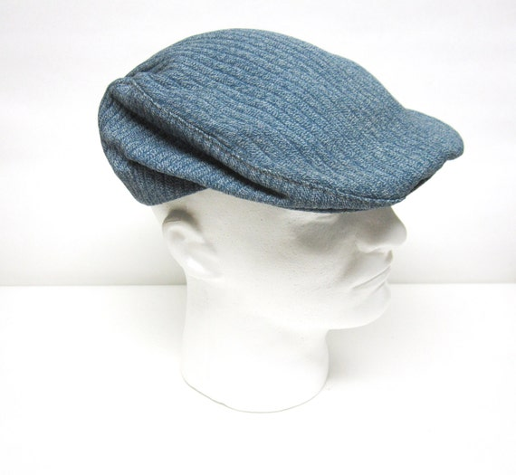 Vintage Newsboy Hat Golf Cap Blue Gray English Style Made In  4c29a8c61a0