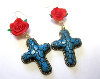 Cross Earrings Western Jewelry Turquoise Blue Red Rose