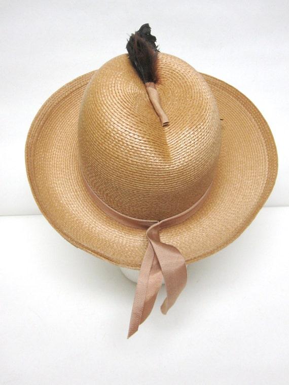 Womans Straw Hat Wide Brimmed Fedora Hat Sandra N… - image 3