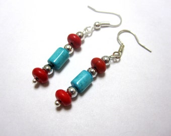Cowgirl Earrings Western Jewelry Turquoise Blue Red