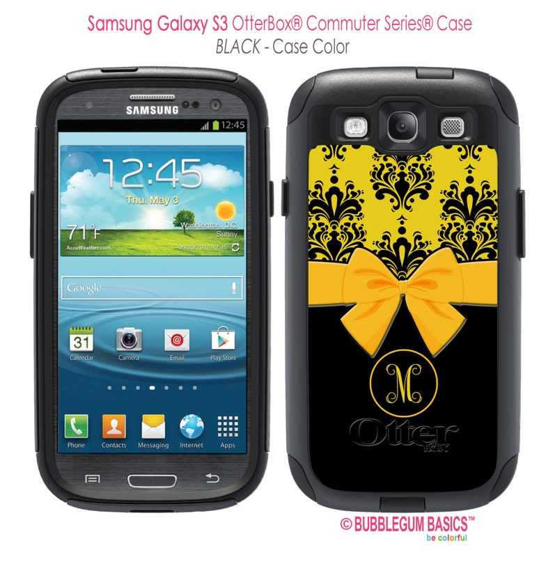 buy popular b278d 1e6fd Personalized OTTERBOX Commuter Samsung Galaxy S8, S7, S6, S6 Edge, S5, S4,  Note 8 5 Phone Case Yellow Damask Black Bow Monogrammed Custom