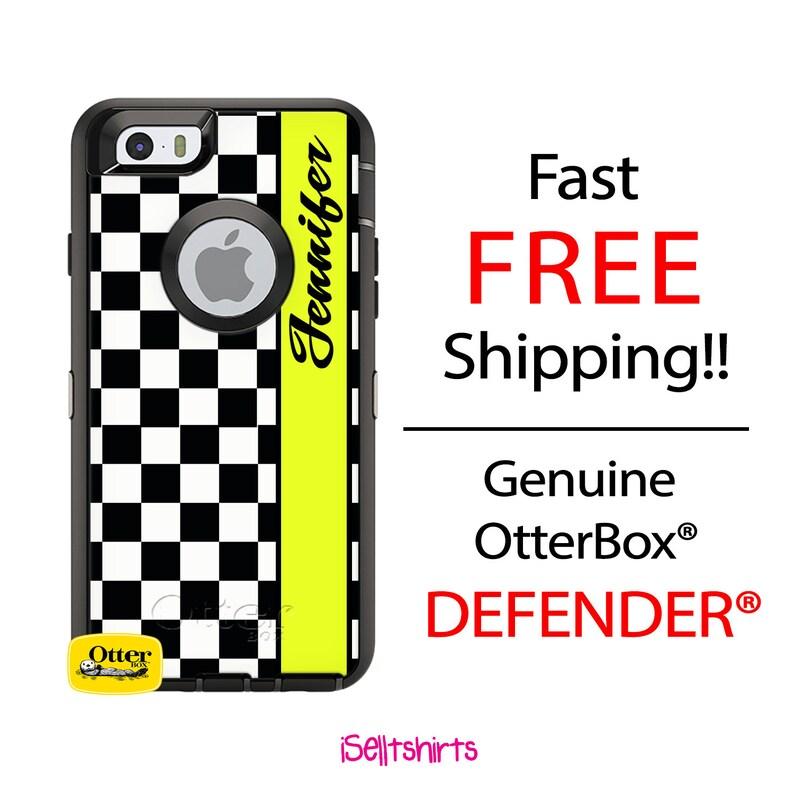 OTTERBOX Defender iPhone X, 8, 8 Plus, 7, 7 Plus, 6/6s, 6 Plus, 6s Plus,  5/5s/SE Black Checkered Chartreuse Racing Personalized Monogram