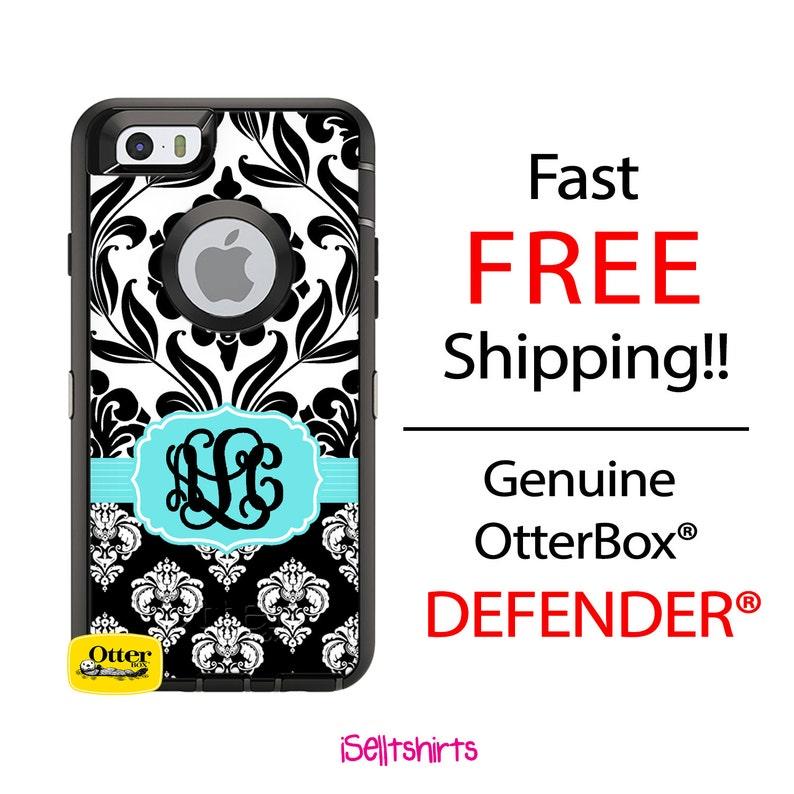 OTTERBOX DEFENDER iPhone X, 8, 8 Plus, 7, 7 Plus, 6/6s, 6 Plus, 6s Plus,  5/5s/SE Case Custom Two Tone Black Damask Monogram Personalized