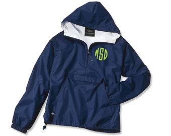 Monogrammed Pullover Rain jacket - NAVY - Ladies Rain jacket Monogram rain jacket