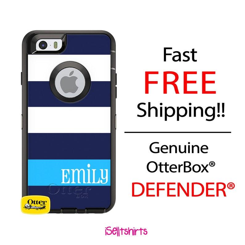 OTTERBOX DEFENDER iPhone 8, 8 Plus, 7, 7 Plus, 6/6s, 6 Plus, 5 SE Case  Custom Navy We Stripes Light Blue Name Band - Monogram Personalized