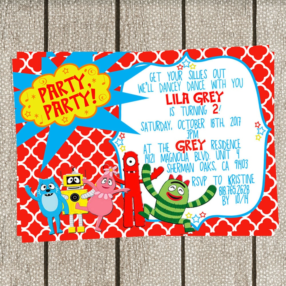 Yo Gabba Gabba Birthday Invitation Etsy