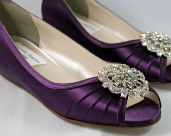 SALE Aubergine Wedges Sale 8 WIDE Ready to ship