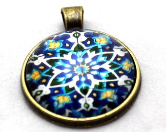 Blue Turkish Mosaic Necklace  -  Glass Brass necklace