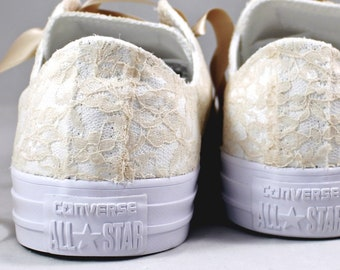 Champagne Bridal Converses Monochrome  --Lace Converse -- Wedding Tennis shoes  - Wedding Converse