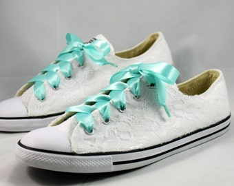 Bridal Converses --Lace Converse -- Wedding Tennis shoes  - Wedding Converse