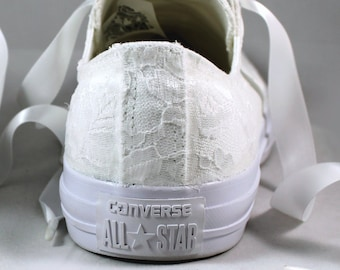 487eff9ac9ee1 White Lace Low Tops - TheCrystalSlipper