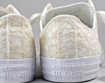 Size 5.5 Champagne Bridal Converses Ready to ship -- Wedding Tennis shoes with Ivory Lace - Wedding Converse