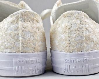 Size 8 Champagne lace Bridal Converses Ready to ship -- Wedding Tennis shoes with champagne Lace - Wedding Converse