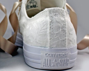 Monochrome White Bridal Converses  --Lace Converse -- Wedding Tennis shoes  - Wedding Converse