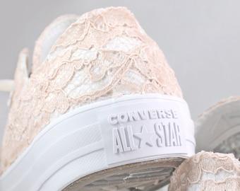 Blush Lace Monochrome Bridal Converses  -- Blush Lace Converse -- Wedding Tennis shoes  - Wedding Converse