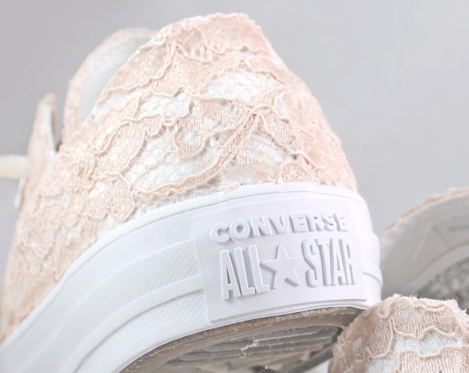 Featured listing image: Blush Lace Monochrome Bridal Converses  -- Blush Lace Converse -- Wedding Tennis shoes  - Wedding Converse