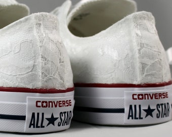 White Lace Bridal Converses  --Lace Converse Optic White-- Wedding Tennis shoes  - Wedding Converse
