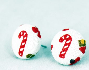 Handmade Fabric Button Christmas Candy Cane Earrings - Holiday Theme Earrings -Fabric Covered Button Earrings