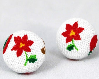 Handmade Fabric Button Christmas Poinsettia Earrings - Holiday Theme Earrings -Fabric Covered Button Earrings
