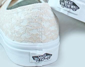 Champagne Lace Bridal Vans  --Lace Vans -- Wedding Tennis shoes  - Wedding Vans