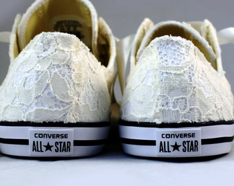 Ivory Wedding Converse - Sequin Lace Ivory Lace Bridal Converses -- Ivory Lace Converse -- Wedding Tennis shoes
