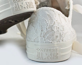 Ivory Bridal Converses Egret Ivory Shimmer Lace  -- Ivory Converse -- Wedding Tennis shoes  - Wedding Converse