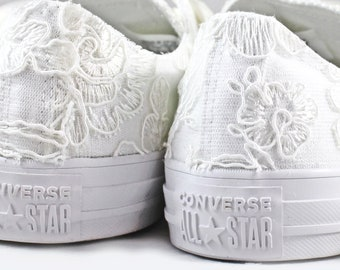 Floral Ivory Lace Monochrome Bridal Converses  -- Floral Ivory Lace Converse -- Wedding Tennis shoes  - Wedding Converse